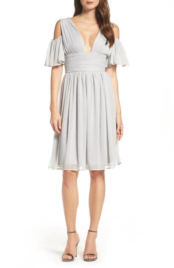French Connection Chiffon Fit & Flare Dress, Grey