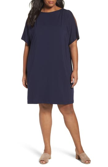 Plus Size Eileen Fisher Slit Sleeve Kimono Dress, Blue