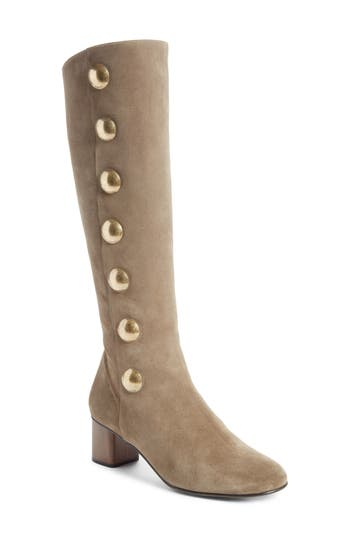 Chloe Orlando Tall Button Boot - Beige