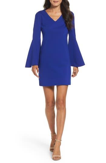 Cece Lizzie Bell Sleeve Sheath Dress, Blue
