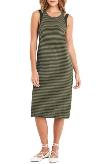 Michael Stars Layered Knit Tank Dress, Green