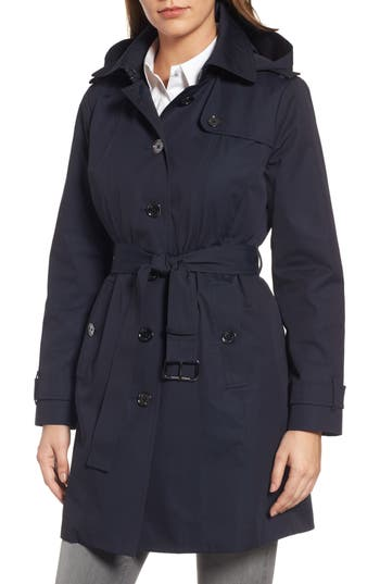 Women's Michael Michael Kors Core Trench Coat With Removable Hood & Liner