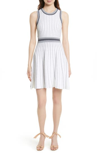 Milly Ribbed Knit Fit & Flare Dress, Size Petite - White