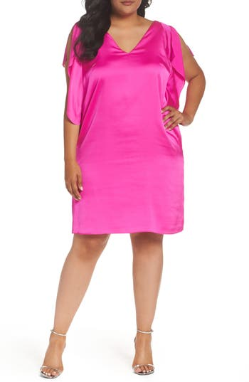 Plus Size Rachel Rachel Roy Flutter Sleeve Shift Dress, Pink