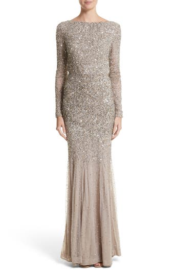 Rachel Gilbert Viera Embellished V-Back Mermaid Gown, Brown