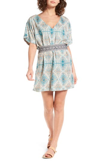 Roxy Delicate Embroidered Belt Dress, Blue