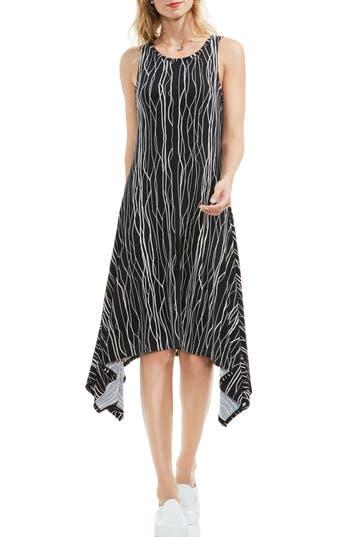 Vince Camuto Electric Lines Handkerchief Hem Dress, Black
