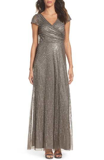 Adrianna Papell Sequin Gown, Grey