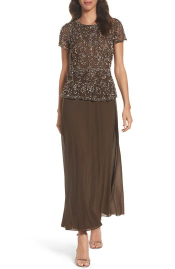 Pisarro Nights Embellished Mesh & Chiffon Gown, Brown