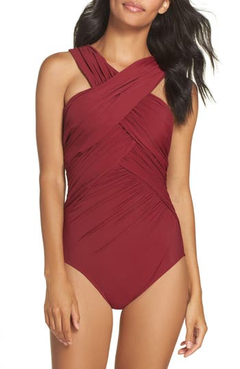 Miraclesuit Crisscross One-Piece Swimsuit, Burgundy