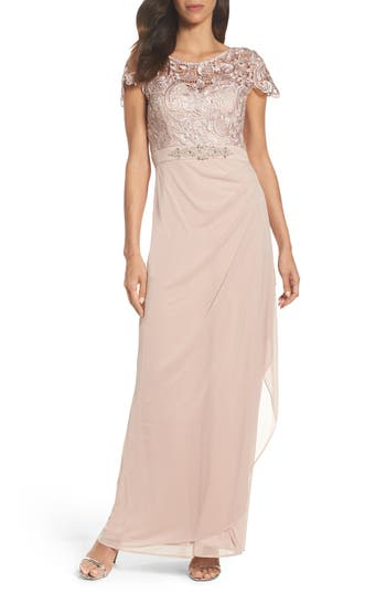Xscape Lace Column Gown, Beige