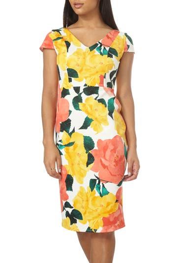 Women's Dorothy Perkins Floral Print Scuba Pencil Dress, Size 6 US / 10 UK - Coral