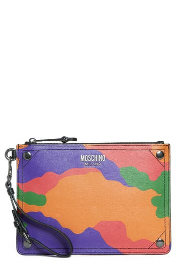 Women's Moschino Multi Camo Print Leather Zip Pouch Wristlet - Red