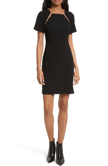 Alice + Olivia Kristiana Embellished Split Seam Sheath Dress, Black