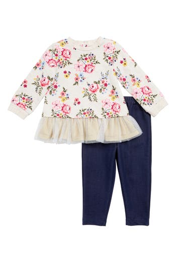 Infant Girl's Little Me Floral Top & Leggings Set