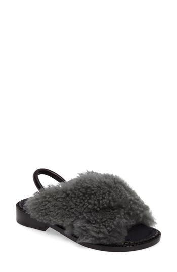 Robert Clergerie Bloss Genuine Fur Sandal - Grey