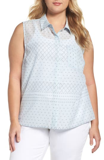 Plus Size Two By Vince Camuto Delicate Dabs Slit Back Shirt, Blue