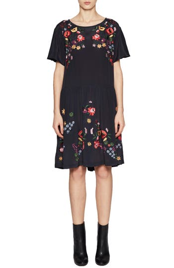 French Connection Alice Embroidered Dress, Blue