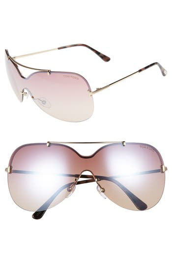 Tom Ford Ondria Gradient Lens Shield Sunglasses - Shiny Rose Gold/ Gradient