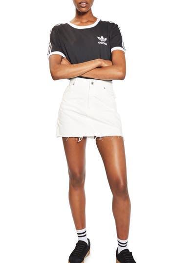 Topshop High Waist Denim Miniskirt, US (fits like 10-12) - Ivory