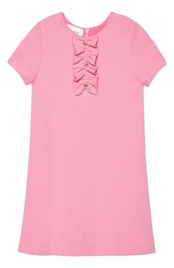 Girl's Gucci Ruffle Front Shift Dress, Size 10 - Pink