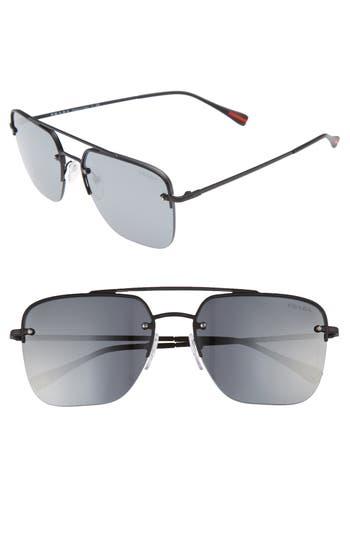 Men's Prada Irregular 59Mm Aviator Sunglasses - Black