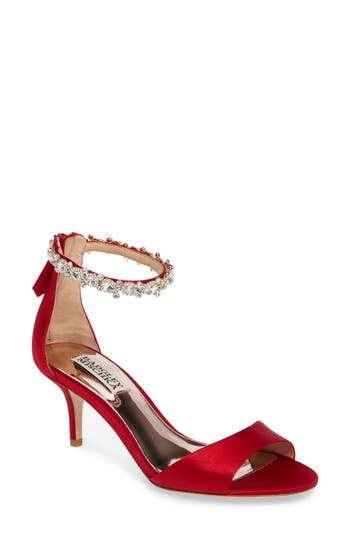 Badgley Mischka Geranium Embellished Sandal, Red