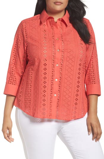 Plus Size Foxcroft Ava Eyelet Shirt, Coral
