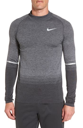 Nike Dry Running Mock Neck Long Sleeve T-Shirt, Grey