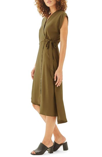 Women's Topshop Emily Asymmetrical Wrap Dress, Size 2 US (fits like 0) - Green