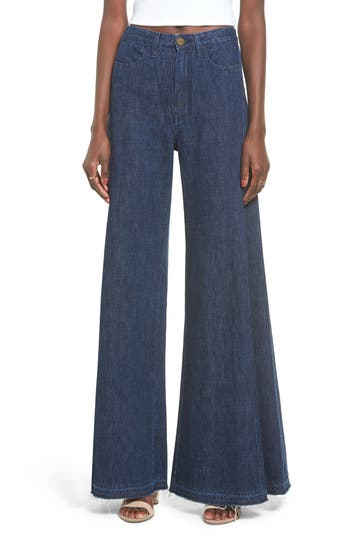 Show Me Your Mumu San Fran Super Flare Denim Pants, Blue