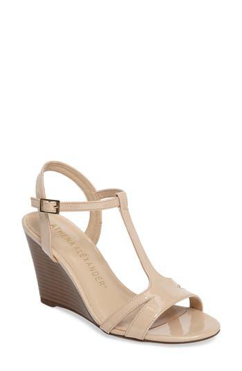 Athena Alexander Andres Wedge T-Strap Sandal, Beige