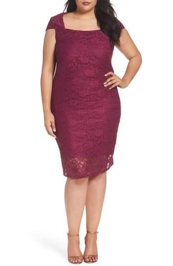 Plus Size Marina Lace Cocktail Dress, Pink