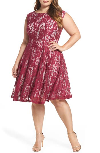 Plus Size Gabby Skye Lace Fit & Flare Dress, Pink