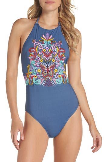 Nanette Lepore Dazed Denim Goddess One-Piece Swimsuit, Blue