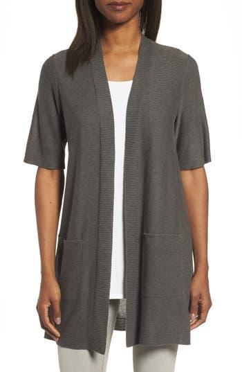 Eileen Fisher Simple Tencel & Merino Wool Cardigan, Brown