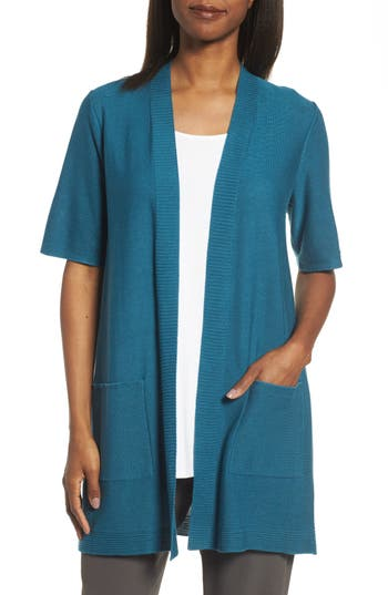 Eileen Fisher Simple Tencel & Merino Wool Cardigan, Blue/green