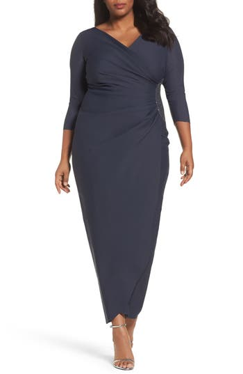Plus Size Alex Evenings Embellished Side Ruched Jersey Gown, Grey