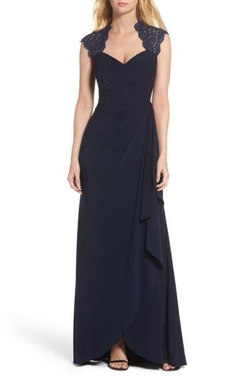 Xscape Side Drape Metallic Lace & Jersey Gown