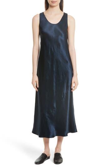 Vince Bias Cut Satin Midi Dress, Blue
