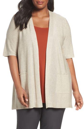 Plus Size Eileen Fisher Simple Tencel & Merino Wool Cardigan, Beige