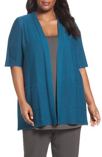 Plus Size Eileen Fisher Simple Tencel & Merino Wool Cardigan, Blue