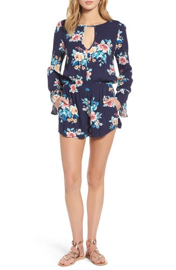 Women's Mimi Chica Floral Bell Sleeve Romper, Size X-Small - Blue