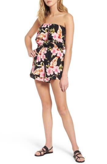 Women's Mimi Chica Floral Print Strapless Romper, Size X-Small - Black