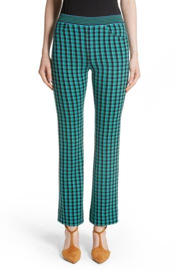 Women's Missoni Plaid Stretch Wool Knit Pants, Size 4 US / 40 IT - Blue/green