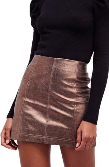 Free People Metallic Faux Leather Miniskirt, Beige