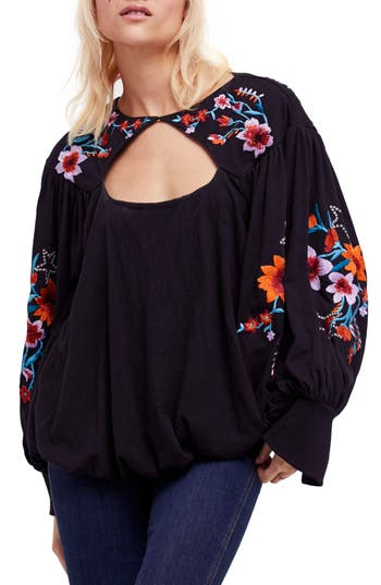 Free People Lita Embroidered Bell Sleeve Top, Black