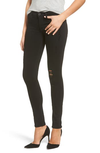 Hudson Jeans Krista Distressed Super Skinny Jeans, Black