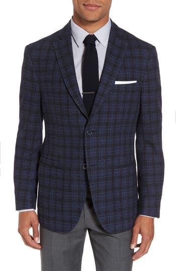 Jkt New York Trim Fit Plaid Cotton Blend Sport Coat, 0 R - Blue