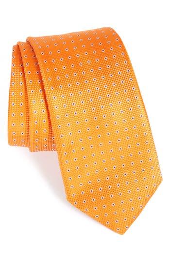 Men's Eton Geometric Silk Tie, Size Regular - Orange